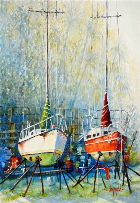Original art for sale at UGallery.com | Boatyard Buddies 2 by JUDY MUDD | $575 |  | 15' h x 9' w | ..\art\watercolor-painting-Boatyard-Buddies-2