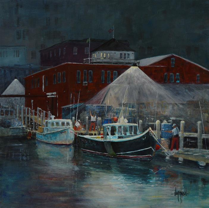 Original art for sale at UGallery.com | Wharf Work by JUDY MUDD | $1,325 |  | 18' h x 18' w | ..\art\acrylic-painting-Wharf-Work