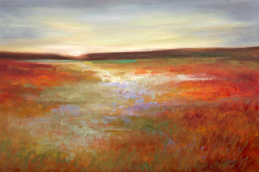 Original art for sale at UGallery.com | Light Across The Meadow by SHEILA FINCH | $2,975 |  | 20' h x 30' w | ..\art\oil-painting-Light-Across-The-Meadow