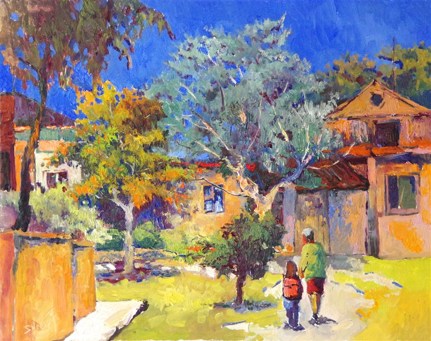 Original art for sale at UGallery.com | Summer Day, Nostalgia by SUREN NERSISYAN | $1,400 |  | 22' h x 28' w | ..\art\oil-painting-Summer-Day-Nostalgia