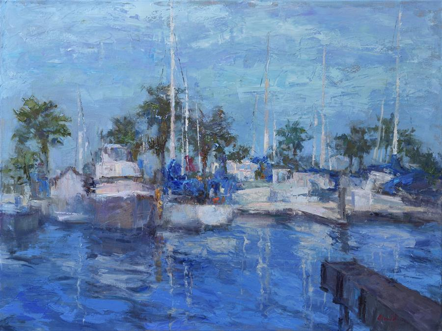 Original art for sale at UGallery.com | Resting Boats by OKSANA JOHNSON | $3,000 |  | 30' h x 40' w | ..\art\oil-painting-Resting-Boats