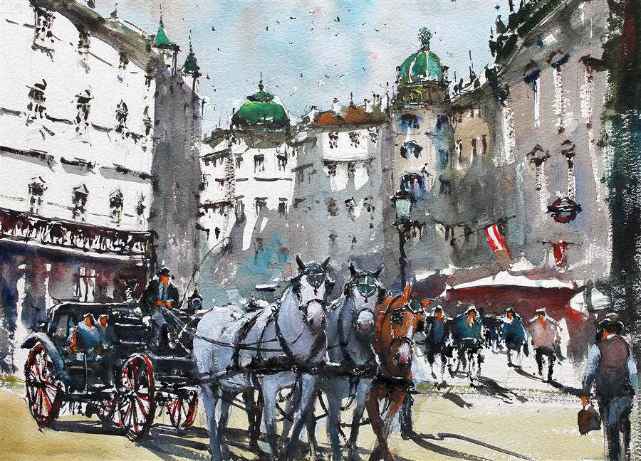 Original art for sale at UGallery.com | Horses in Vienna by MAXIMILIAN DAMICO | $575 |  | 11' h x 15' w | ..\art\watercolor-painting-Horses-in-Vienna