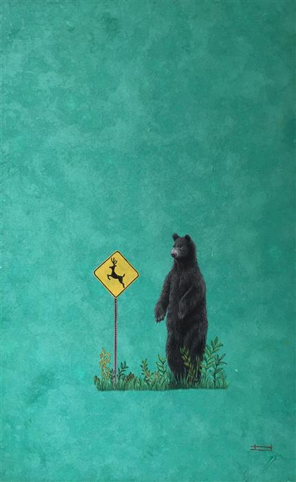 Original art for sale at UGallery.com | Bear and Deer Sign by HEEJIN SUTTON | $775 |  | 16' h x 10' w | ..\art\mixed-media-artwork-Bear-and-Deer-Sign