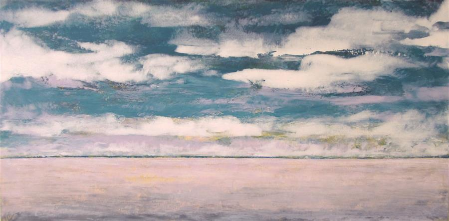 Original art for sale at UGallery.com | Cloud Scape by Valerie Berkely | $400 | oil painting | 12' h x 24' w | ..\art\oil-painting-Cloud-Scape