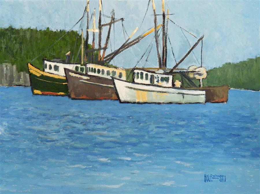 Original art for sale at UGallery.com | Three Boats on the Manasquan River by ROBERT  HOLEWINSKI | $1,225 |  | 17' h x 22.75' w | ..\art\oil-painting-Three-Boats-on-the-Manasquan-River