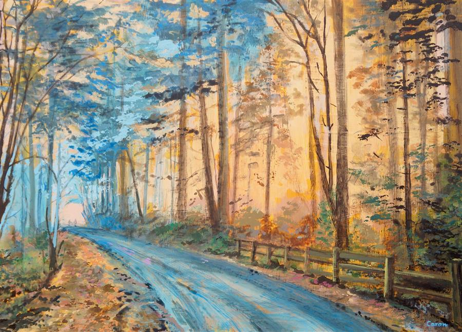 Original art for sale at UGallery.com | A Walk in Forest Park by SIDONIE CARON | $3,000 |  | 24' h x 33' w | ..\art\acrylic-painting-A-Walk-in-Forest-Park