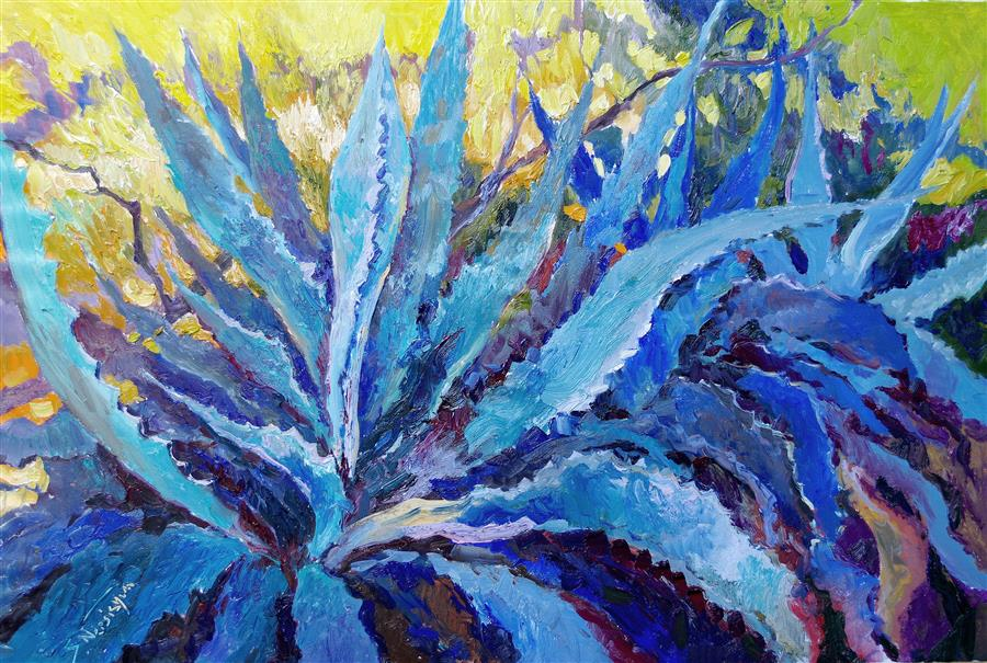 Original art for sale at UGallery.com | Blue Agave in Shade by SUREN NERSISYAN | $1,800 |  | 24' h x 36' w | ..\art\oil-painting-Blue-Agave-in-Shade