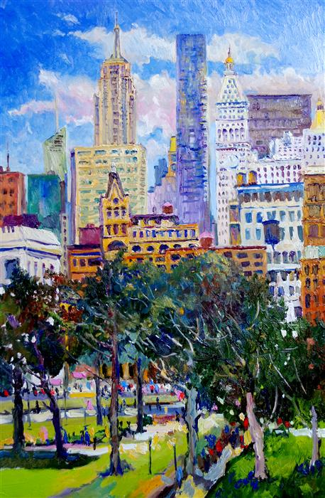 Original art for sale at UGallery.com | View from Union Square New York, Sunny Day by Suren Nersisyan | $2,000 | oil painting | 36' h x 24' w | ..\art\oil-painting-View-from-Union-Square-New-York-Sunny-Day