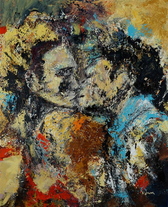 Original art for sale at UGallery.com | First Kiss by WYNSTON EDUN | $1,200 |  | 30' h x 24' w | ..\art\acrylic-painting-First-Kiss