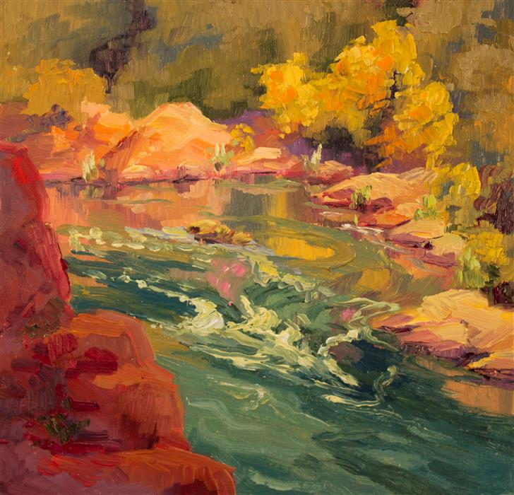Original art for sale at UGallery.com | Upstream Fall Color by KAREN E LEWIS | $375 |  | 12' h x 12' w | ..\art\oil-painting-Upstream-Fall-Color