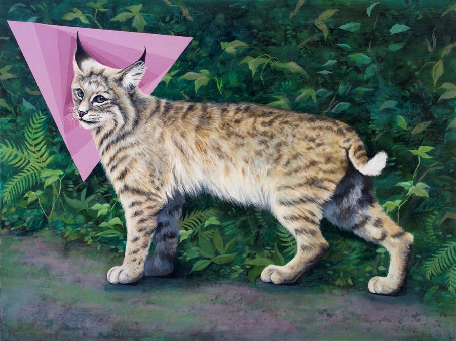 Original art for sale at UGallery.com | Lynx Rufus by JENNIFER WILDERMUTH REYES | $2,100 |  | 30' h x 40' w | ..\art\oil-painting-Lynx-Rufus