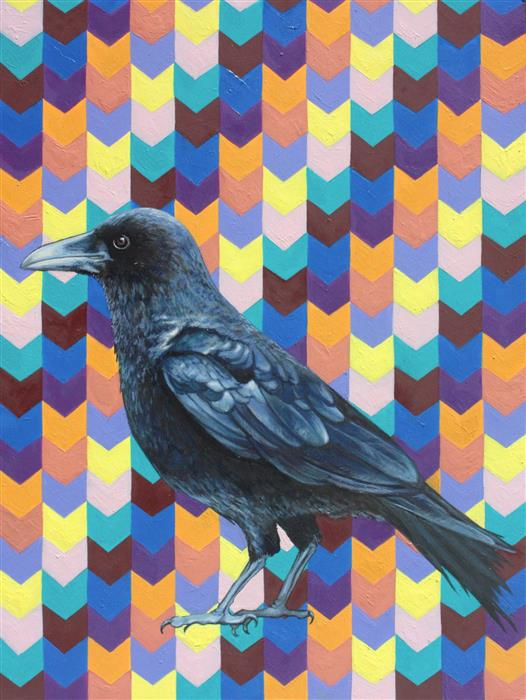 Original art for sale at UGallery.com | Corvus Brachyrhynchos by JENNIFER WILDERMUTH REYES | $475 |  | 16' h x 12' w | ..\art\oil-painting-Corvus-Brachyrhynchos