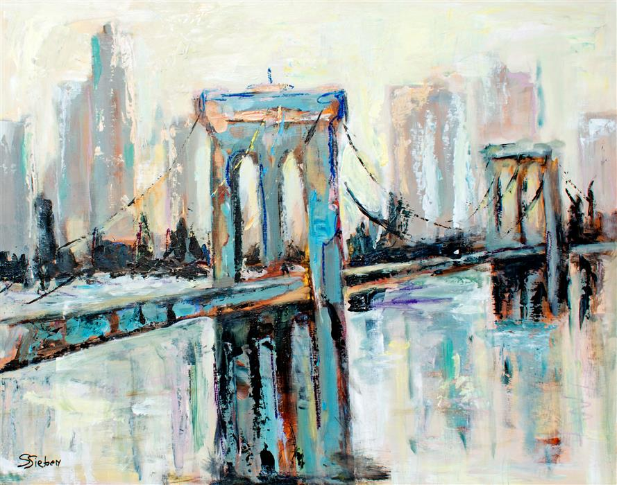 Original art for sale at UGallery.com | Brooklyn Bridge Span by Sharon Sieben | $975 | acrylic painting | 22' h x 28' w | ..\art\acrylic-painting-Brooklyn-Bridge-Span