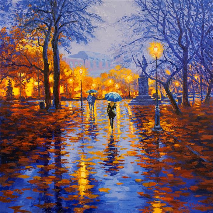 Original art for sale at UGallery.com | Magic City: Central Park, New York by STANISLAV SIDOROV | $2,750 |  | 36' h x 36' w | ..\art\oil-painting-Magic-City-Central-Park-New-York