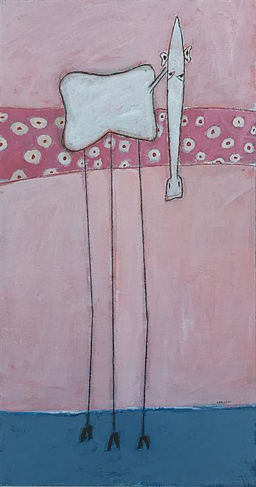 Original art for sale at UGallery.com | Life in Big Pink by RICK HAMILTON | $950 |  | 28' h x 15' w | ..\art\acrylic-painting-Life-in-Big-Pink
