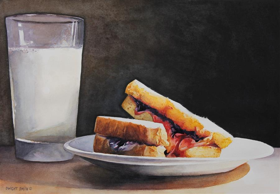 Original art for sale at UGallery.com | Midnight Snack by DWIGHT SMITH | $325 |  | 7' h x 10' w | ..\art\watercolor-painting-Midnight-Snack