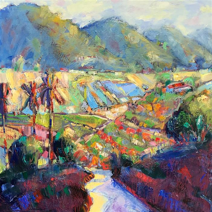 Original art for sale at UGallery.com | Carmel Valley Farm by JAMES HARTMAN | $4,875 |  | 48' h x 48' w | ..\art\oil-painting-Carmel-Valley-Farm