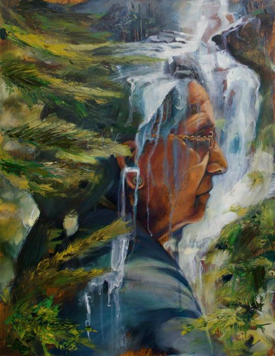 Original art for sale at UGallery.com | Waterfall by ABIGAIL DRAPKIN | $1,000 |  | 18' h x 14' w | ..\art\oil-painting-Waterfall-57688