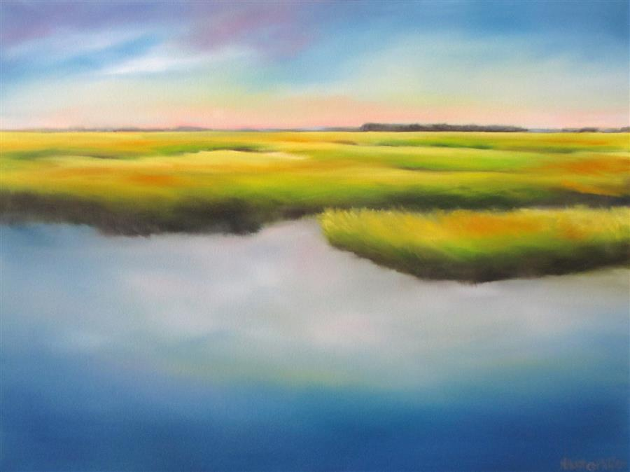 Original art for sale at UGallery.com | Quiet Marsh Morning by NANCY HUGHES MILLER | $875 |  | 18' h x 24' w | ..\art\oil-painting-Quiet-Marsh-Morning