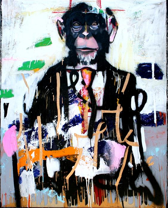 Original art for sale at UGallery.com | A Distinguished Chimp by SCOTT DYKEMA | $6,500 |  | 60' h x 48' w | ..\art\mixed-media-artwork-A-Distinguished-Chimp