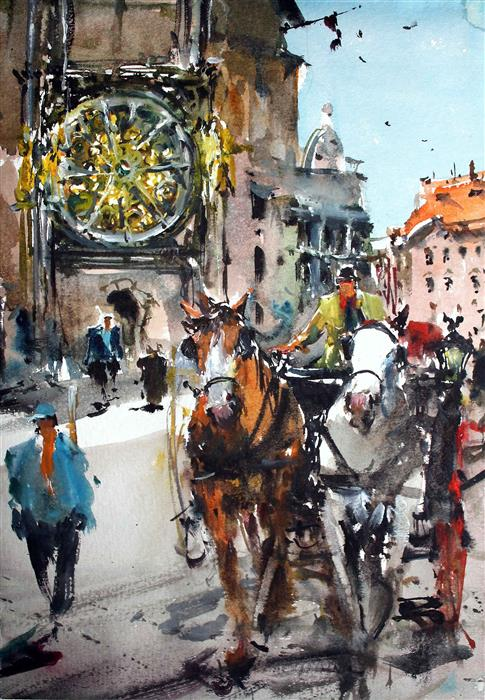 Original art for sale at UGallery.com | Prague Square by MAXIMILIAN DAMICO | $650 |  | 11' h x 8' w | ..\art\watercolor-painting-Prague-Square
