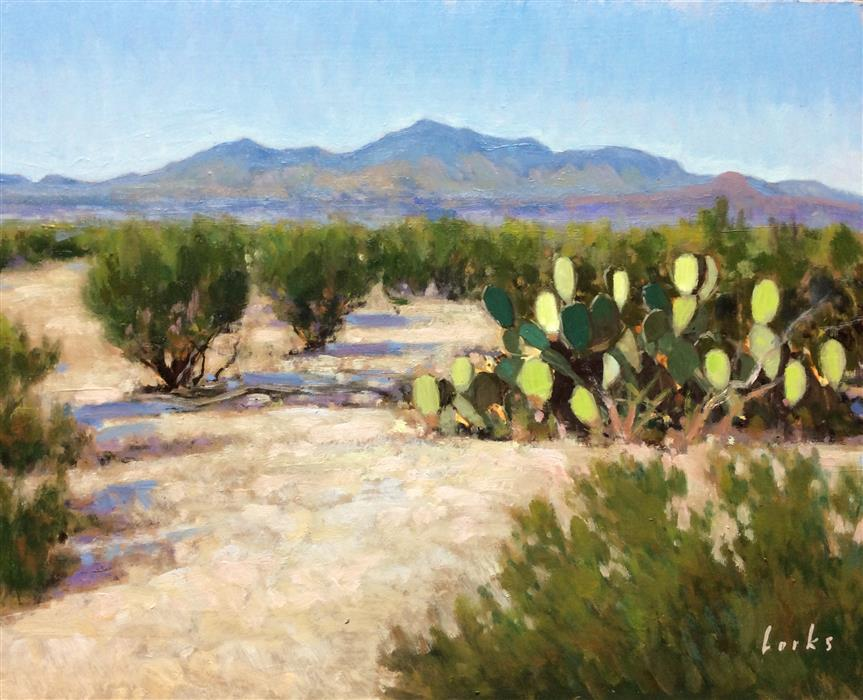 Original art for sale at UGallery.com | Creosote, Cactus and Chisos by DAVID FORKS | $1,075 |  | 16' h x 20' w | ..\art\oil-painting-Creosote-Cactus-and-Chisos