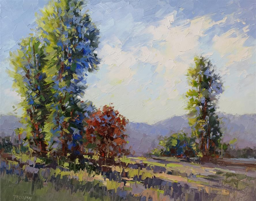 Original art for sale at UGallery.com | Long Shadows by Tricia May | $2,175 | oil painting | 24' h x 30' w | ..\art\oil-painting-Long-Shadows-57783