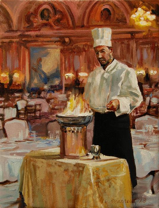 Original art for sale at UGallery.com | Flambé Chef by ONELIO MARRERO | $500 |  | 12' h x 9' w | ..\art\oil-painting-Flamb-Chef