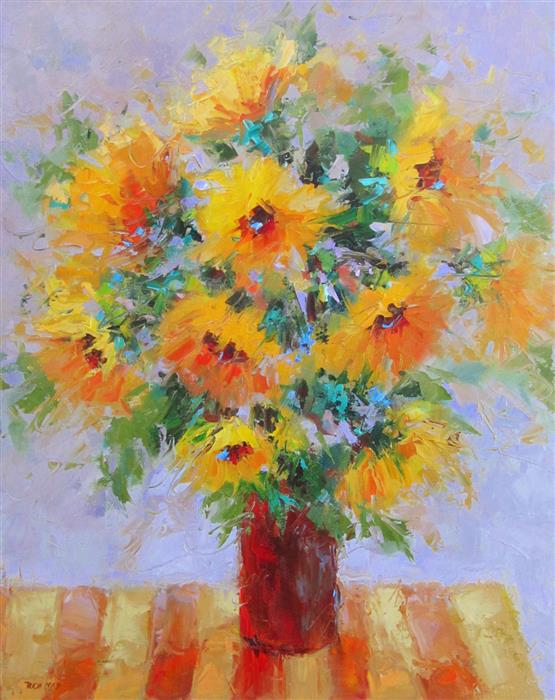 Original art for sale at UGallery.com | Table with Sunflowers by TRICIA MAY | $925 |  | 20' h x 16' w | ..\art\oil-painting-Table-with-Sunflowers