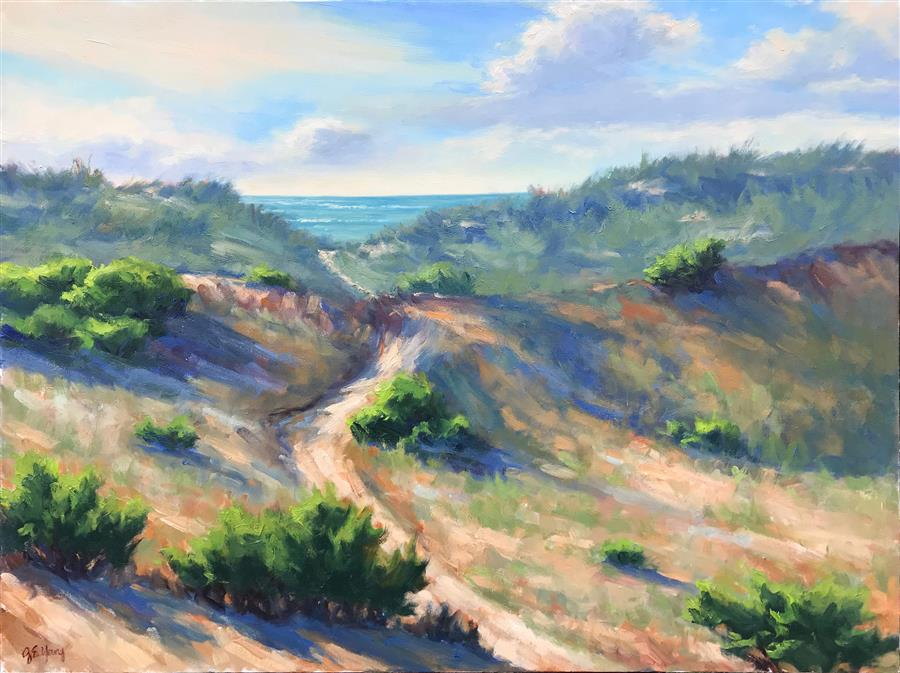 Original art for sale at UGallery.com | Path to the Sea by JENNIFER YOUNG | $3,800 |  | 30' h x 40' w | ..\art\oil-painting-Path-to-the-Sea
