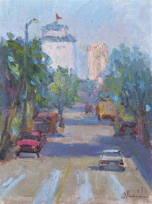 Original art for sale at UGallery.com | Morning in San Francisco by OKSANA JOHNSON | $650 |  | 12' h x 9' w | ..\art\oil-painting-Morning-in-San-Francisco