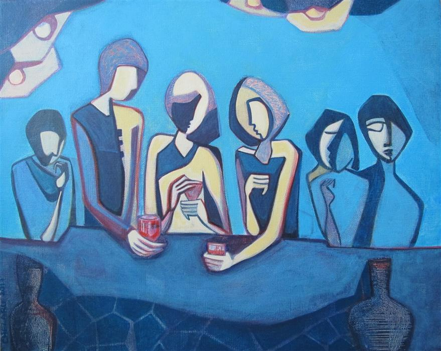Original art for sale at UGallery.com | Seeing Friends by DIANA ELENA CHELARU | $600 |  | 16' h x 20' w | ..\art\acrylic-painting-Seeing-Friends