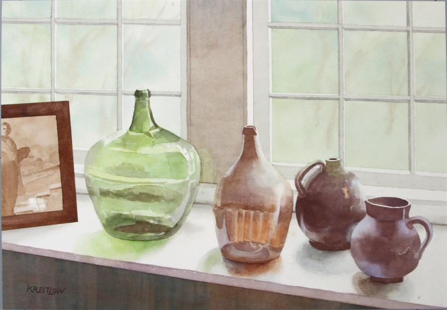 Original art for sale at UGallery.com | The Green Jug by BILL KREITLOW | $750 |  | 16.5' h x 24.25' w | ..\art\watercolor-painting-The-Green-Jug