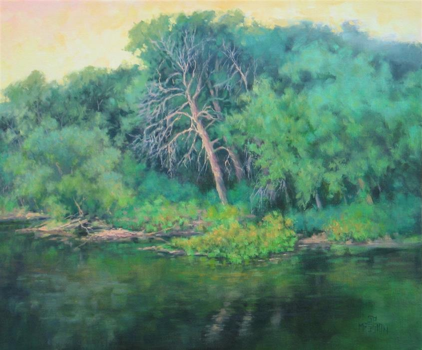 Original art for sale at UGallery.com | River Sentinel by Suzanne Massion | $750 | oil painting | 20' h x 24' w | ..\art\oil-painting-River-Sentinel