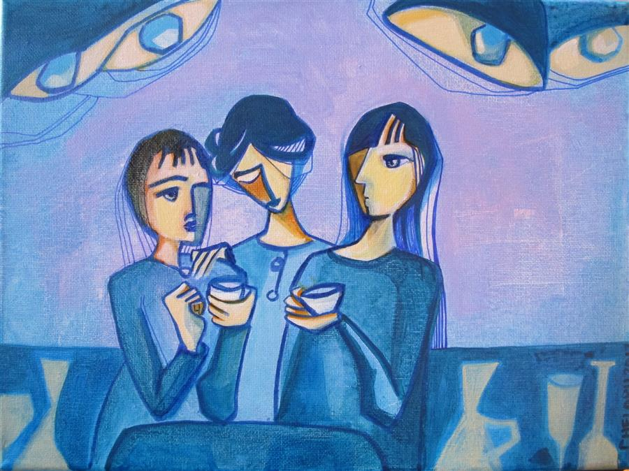 Original art for sale at UGallery.com | Coffee at Night by DIANA ELENA CHELARU | $275 |  | 9' h x 12' w | ..\art\acrylic-painting-Coffee-at-Night