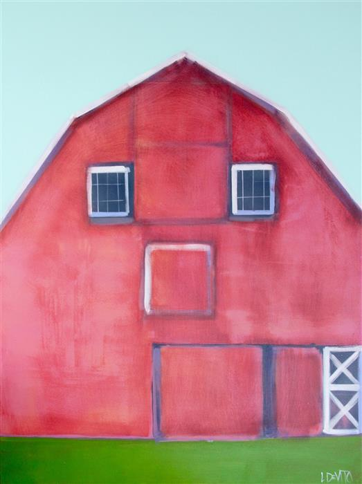 Original art for sale at UGallery.com | Red Barn by LESLI DEVITO | $1,750 |  | 40' h x 30' w | ..\art\acrylic-painting-Red-Barn-57910