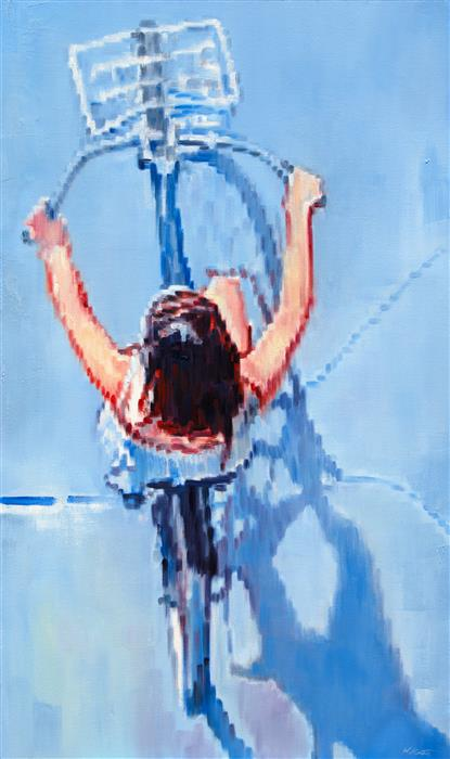 Original art for sale at UGallery.com | Woman Bicycling on a Summer Day by WARREN KEATING | $6,050 |  | 60' h x 36' w | ..\art\oil-painting-Woman-Bicycling-on-a-Summer-Day
