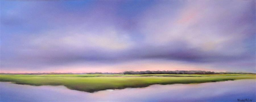 Original art for sale at UGallery.com | Soft Mood Marsh by NANCY HUGHES MILLER | $1,325 |  | 16' h x 40' w | ..\art\oil-painting-Soft-Mood-Marsh