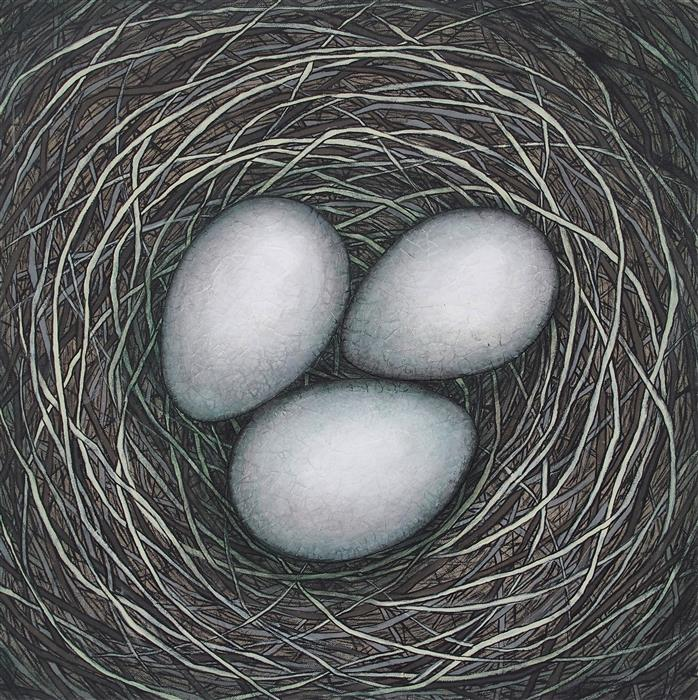 Original art for sale at UGallery.com | In Our Nest by JENNIFER ROSS | $1,650 |  | 24' h x 24' w | ..\art\mixed-media-artwork-In-Our-Nest