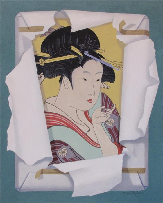 Original art for sale at UGallery.com | Utamaro's Beauty by Tom Miller | $600 | acrylic painting | 20' h x 16' w | ..\art\acrylic-painting-Utamaro-s-Beauty