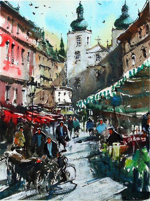 Original art for sale at UGallery.com | Prague Daily Market by Maximilian Damico | $700 | watercolor painting | 11' h x 9' w | ..\art\watercolor-painting-Prague-Daily-Market