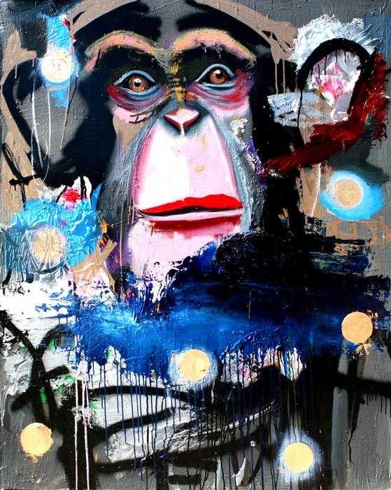 Original art for sale at UGallery.com | A Chimp in Space? by SCOTT DYKEMA | $6,500 |  | 60' h x 48' w | ..\art\mixed-media-artwork-A-Chimp-in-Space