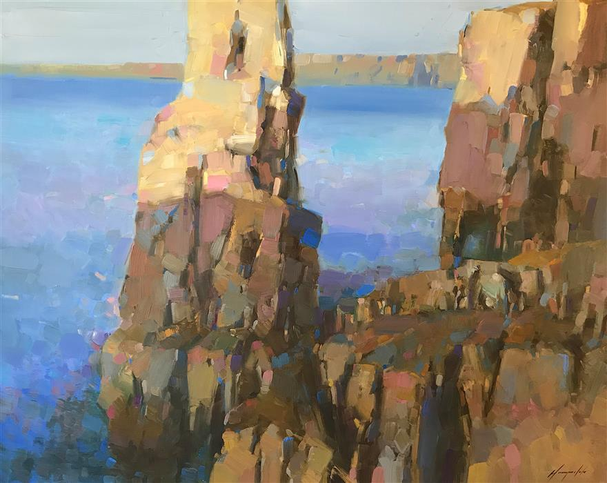 Original art for sale at UGallery.com | Cliffs by Vahe Yeremyan | $2,800 | oil painting | 38' h x 47.5' w | ..\art\oil-painting-Cliffs