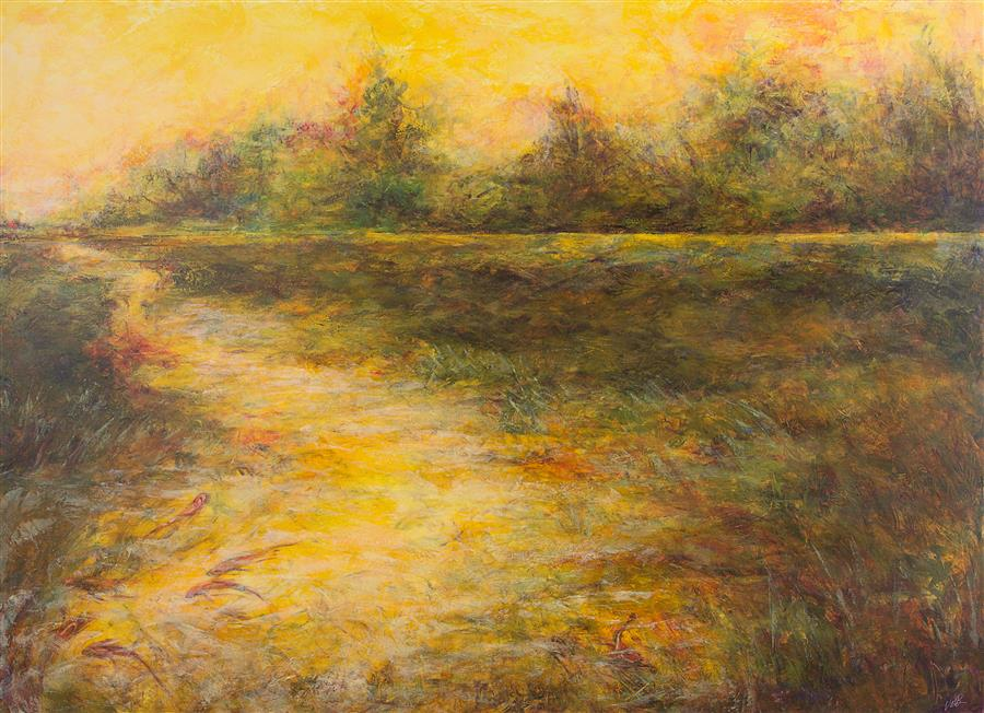 Original art for sale at UGallery.com | Pond by Valerie Berkely | $2,400 | oil painting | 36' h x 48' w | ..\art\oil-painting-Pond-58008