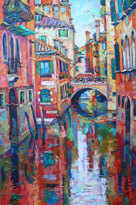 Original art for sale at UGallery.com | Venice Reflection by ELIZABETH ELKIN | $1,825 |  | 30' h x 20' w | ..\art\oil-painting-Venice-Reflection