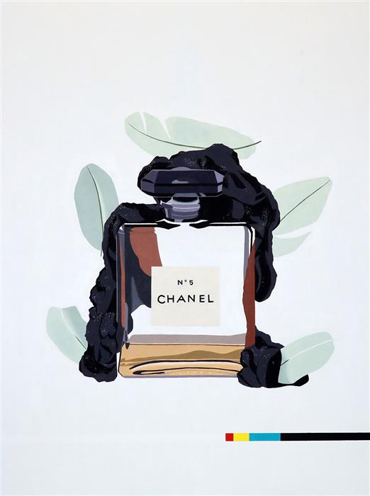 Original art for sale at UGallery.com | Chanel No. 5 (Green) by RYAN PARK | $3,200 |  | 48' h x 36' w | ..\art\oil-painting-Chanel-No-5-Green