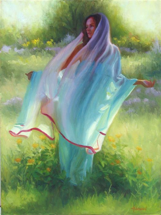 Original art for sale at UGallery.com | A Gentle Breeze by SHERRI ALDAWOOD | $1,925 |  | 24' h x 18' w | ..\art\oil-painting-A-Gentle-Breeze