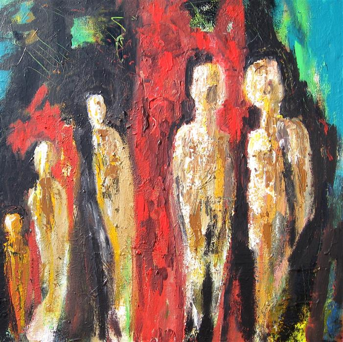 Original art for sale at UGallery.com | A Meeting of Souls by RON KLOTCHMAN | $1,650 |  | 30' h x 30' w | ..\art\acrylic-painting-A-Meeting-of-Souls