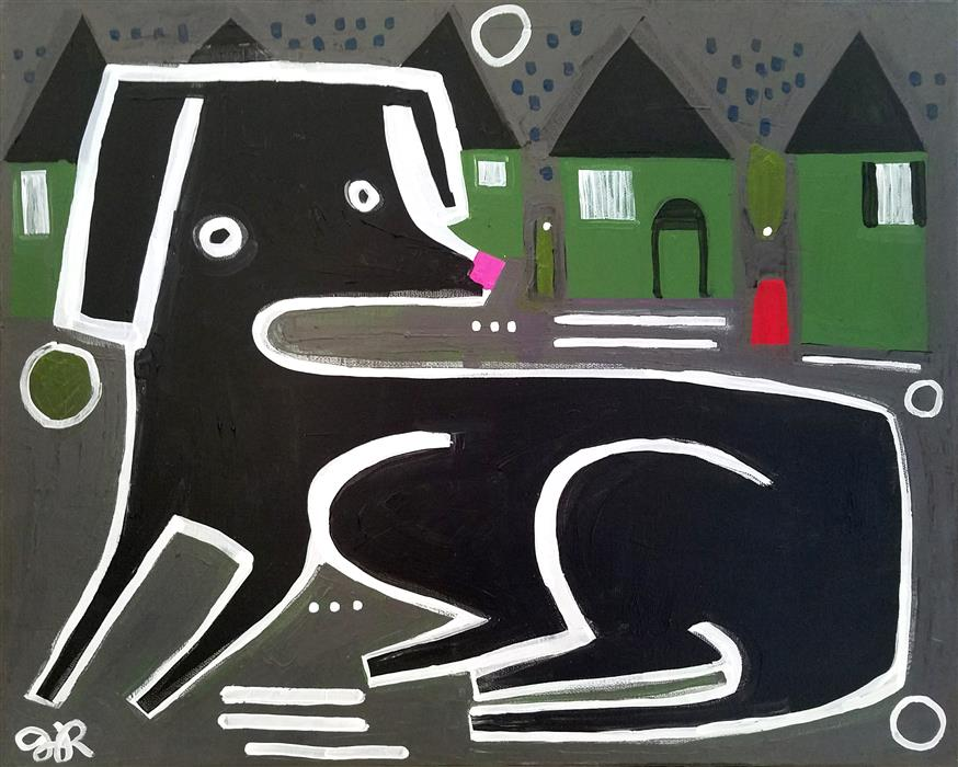 Original art for sale at UGallery.com | Dog in the Neighborhood by JESSICA JH ROLLER | $475 |  | 16' h x 20' w | ..\art\acrylic-painting-Dog-in-the-Neighborhood