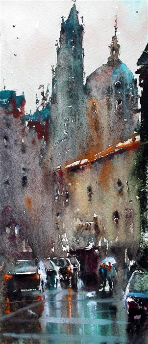 Original art for sale at UGallery.com | Prague Bell Towers by MAXIMILIAN DAMICO | $650 |  | 14' h x 5.5' w | ..\art\watercolor-painting-Prague-Bell-Towers